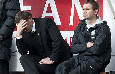 Celtic manager Tony Mowbray and first-team coach Peter Grant