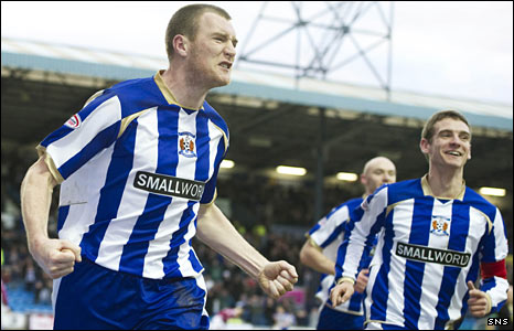 Kilmarnock striker Kevin Kyle celebrates scoring against St Johnstone