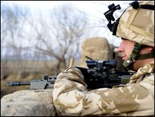 British soldier takes part in Operation Moshtarak (13 February 2010) (Photo: Ministry of Defence)