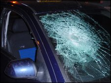 Smashed taxi window