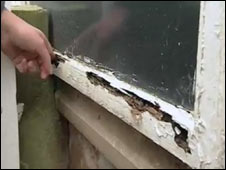 Rotten school window