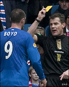 Kris Boyd was booked at Ibrox on Sunday