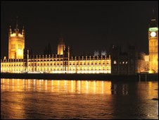 The Houses of Parliament at night