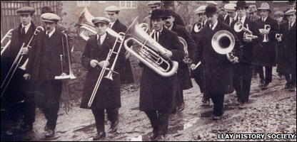 Llay Colliery band take part in a parade in 1925 during a miners' strike about wage reduction