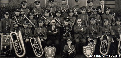 1955: Llay Colliery band display their awards outside the pit's offices
