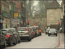 Traffic in York city centre