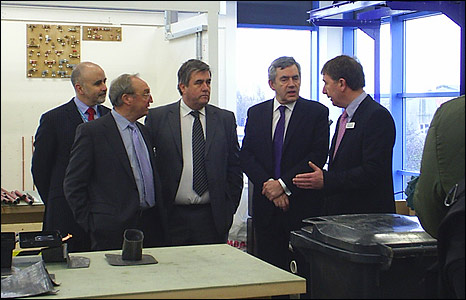 Prime Minister Gordon Brown with staff and students at Great Yarmouth College