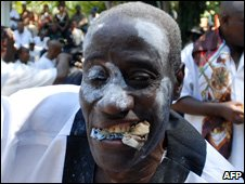 A Haitian man takes part in a voodoo ritual in Port-au-Prince in November 2009