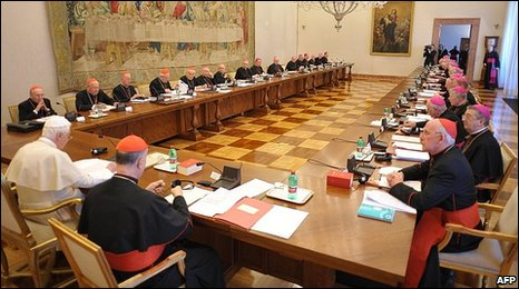 The Pope meets 24 Irish bishops at the Vatican, 15/02/10