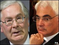 Mervyn King (left) and Alistair Darling
