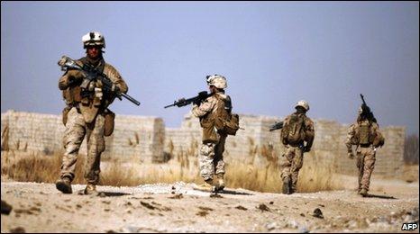 US Marines patrol in north-east Marjah, 16 Feb