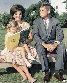 John F Kennedy with wife Jackie and daughter Caroline