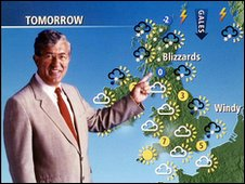 Former BBC weather forecaster Bill Giles with the old-style weather map