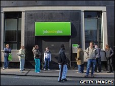 People waiting outside a job centre in Bristol earlier this year