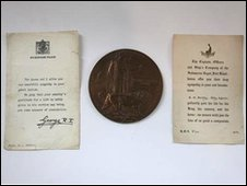 World War II penny and letter