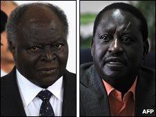 Kenya President Mwai Kibaki (L) and Prime Minister Raila Odinga