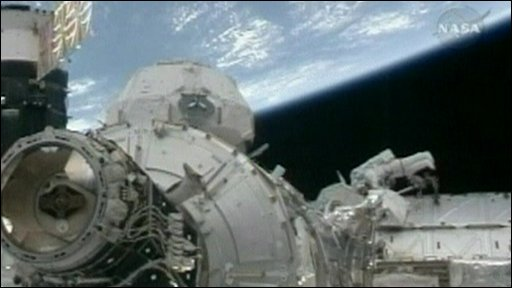 An astronaut on the spacewalk