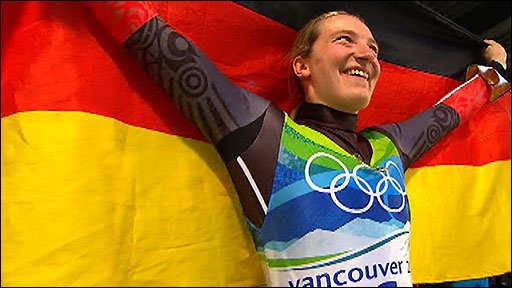 Germany's Tatjana Huefner wins the women's luge gold medal