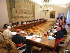 Pope Benedict meeting Irish bishops at the Vatican, 15 February 2010
