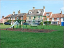 The village green Walberswick in Suffolk