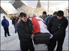 The body of Nodar Kumaritashvili is returned to the village of Bakuriani in Georgia