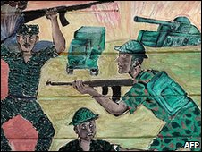 A painting on a wall depicting the recent war between the Sri Lankan army and the Liberation Tigers of Tamil Eelam (LTTE) in Colombo