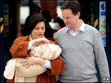 Nick Clegg with wife Moriam and son Miguel
