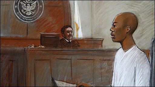 Sketch of Umar Farouk Abdulmutallab in court in Detroit (8 January 2010)