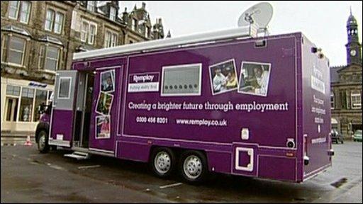 Mobile job centre in car park