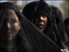 Women in black veils take part in a protest against violence in Juarez on 13 February