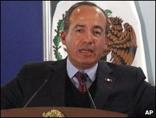 President Felipe Calderon during a visit to Ciudad Juarez on 11 February