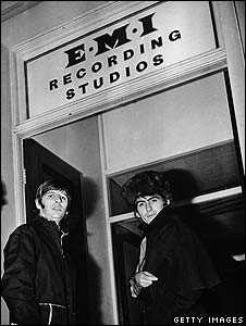 Ringo Starr and George Harrison of the Beatles