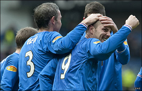 Rangers celebrate a Kris Boyd goal at Ibrox