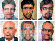 Top row, from left: The suspects named as James Leonard Clarke, Jonathan Louis Graham, Paul John Keeley. Bottom row, from left: Those named as Michael Lawrence Barney, Melvyn Adam Mildiner, Stephen Daniel Hodes