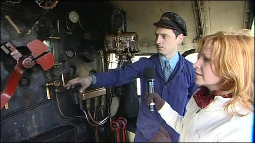 Apprentice shows the BBC's Alison Harper how he drives a steam train