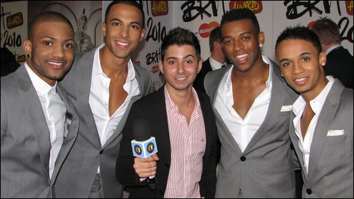 Ricky with JLS at the 2010 Brit Awards