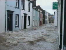 Flood waters on Cockermouth street