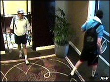 Screen grab of hotel surveillance footage, released by Dubai police, showing two men in tennis outfits following Mahmud Mabhouh on 20 January 2010