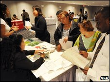 Unemployed people attending a jobs fair in Los Angeles