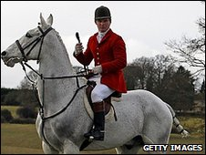 A huntsman with the Avon Vale hunt near Trowbridge