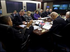 President Barack Obama with his national security team on Afghanistan and Pakistan in the Situation Room of the White House 17 February 2010