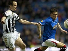 St Mirren defender John Potter and Rangers striker Nacho Novo