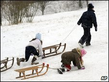 German children playing in the snow