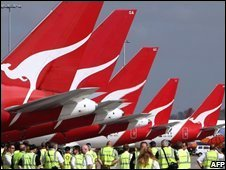 Qantas planes at Sydney airport