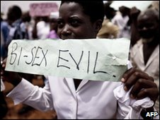 Anti-gay protesters in Uganda