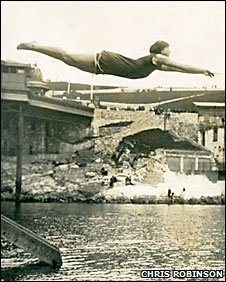 A lady diving off the Hoe in the 1930s