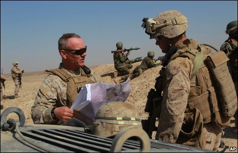US Marine Brig Gen Larry Nicholson in Marjah in Afghanistan's Helmand province 