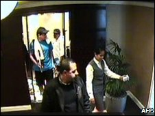 CCTV footage shows alleged assassins following Hamas militant Mahmoud al-Mabhouh (centre) out of a lift