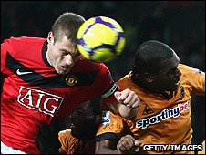 Nemanja Vidic (left) scored United's second
