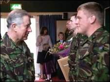 The Prince of Wales meets soldiers at Catterick Garrison